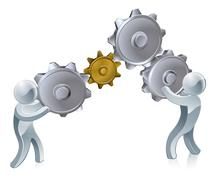 Stock Illustration of People working cogs