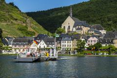 Car ferry crossing the moselle river near beilstein, moselle valley, rhinelan Stock Photos