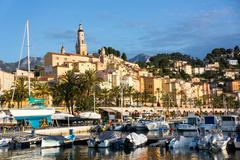 Old town of menton and marina, alpes-maritimes, provence-alpes-cote d'azur, f Stock Photos