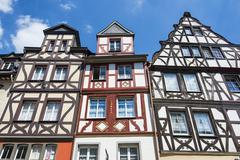 Half timbered houses on the market square in cochem, moselle valley, rhinelan Stock Photos