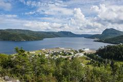 View over bonne bay on the east arm of the gros morne national park, unesco w Stock Photos