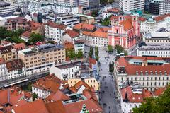 franciscan church of the annunciation in preseren square, seen from ljubljana - stock photo