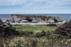 Huge arch in the natural bridges state park, newfoundland, canada, north amer Stock Photos