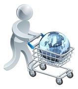 Person pushing trolley with globe Stock Illustration
