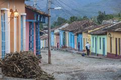 Colourful street in historical center, trinidad, unesco world heritage site,  Stock Photos