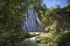 el limon waterfall, eastern peninsula de samana, dominican republic, west ind - stock photo