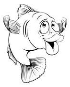 Cod fish cartoon - stock illustration
