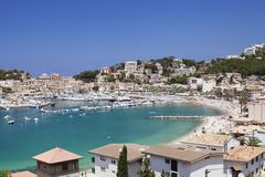 View over port de soller with port and beach, majorca (mallorca), balearic is Stock Photos