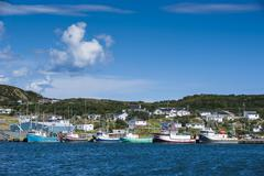 little fishing boats in marguerite bay in st. anthony, newfoundland, canada,  - stock photo