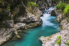 tolminka river, tolmin gorges, triglav national park (triglavski narodni park - stock photo