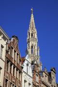 town hall spire, grand place, unesco world heritage site, brussels, belgium,  - stock photo