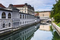 Ljubljana triple bridge (tromostovje) and ljubljanica river, ljubljana, slove Stock Photos