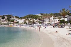 Playa d'es traves beach at promenade passeig es traves, port de soller, major Stock Photos