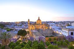 the cathedral of san salvador at dusk, jerez de la frontera, cadiz province,  - stock photo