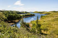 beautiful pond near port aux basques, newfoundland, canada, north america - stock photo