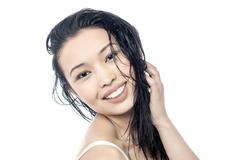 Young woman with beautiful hair - stock photo