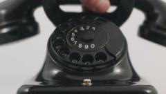 Vintage telephone ringing, telephone handset is lifted, with cuts Stock Footage