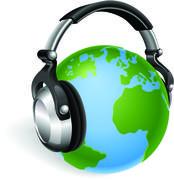 World globe music headphones Piirros