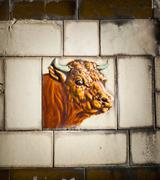 Butcher shop bull tile Stock Photos