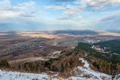 aerial view autumn altai - stock photo