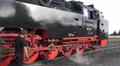 Steam locomotive engine on Harz Brocken peak closeup pan HD Footage