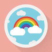 Color rainbow with clouds, Flat style - stock illustration