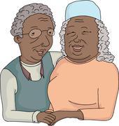 Stock Illustration of Smiling Elderly Couple Cartoon