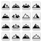 Mountain vector buttons set Stock Illustration