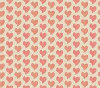 Seamless background of textile with hearts - stock illustration