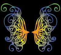 Illustration. iridescent wings of a butterfly on a black background Stock Illustration