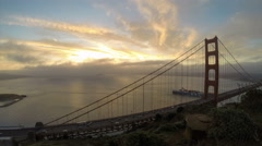 Time lapse of part of the Golden gate bridge and San Francisco bay at dawn Stock Footage