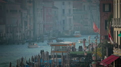 Gondolas near Rialto Bridge in Venice, Italy Stock Footage
