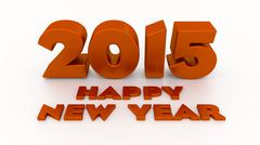 happy new year 2015. 3d design template on the light background with soft sha - stock illustration