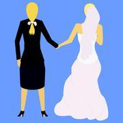 Couple of lesbians Stock Illustration