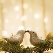 Golden shiny birds kissing on bokeh background - stock photo