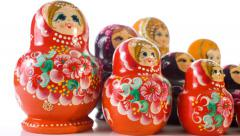 Matryoshka souvenir wooden dolls Stock Footage