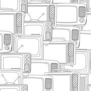 Seamless black and white tv pattern - stock illustration