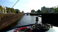 Amsterdam Canal view boat trip on the grachten Stock Footage