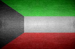 closeup screen kuwait flag concept - stock photo