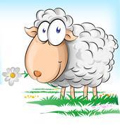 sheep cartoon on  background - stock illustration
