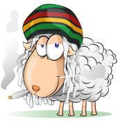 crazy jamaican sheep cartoon - stock illustration