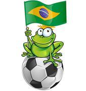 Frog cartoon with soccer ball Stock Illustration