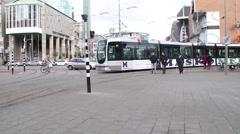 Rotterdam Tram Transit Line Stock Footage