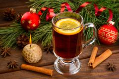 Mulled wine with anise and christmas ball Stock Photos