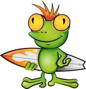 frog cartoon surfer - stock illustration