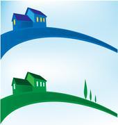 landscape house background - stock illustration
