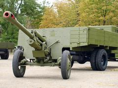 soviet 76mm cannon gan zis3 and army truck zis5,(ural). - stock photo