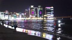 Bright Lights Multi-Color Buildings Gwangalli Beach 4K Stock Footage