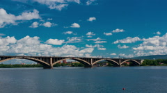 Bridge over the yenisey river, timelapse Stock Footage