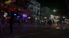 bangla road, night phuket, time lapse - stock footage
